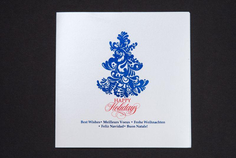 Felicitare Craciun cu bradut folio albastru - poza 1