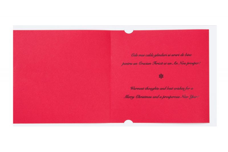 Felicitare Craciun cu fundita catifea rosie - poza 3