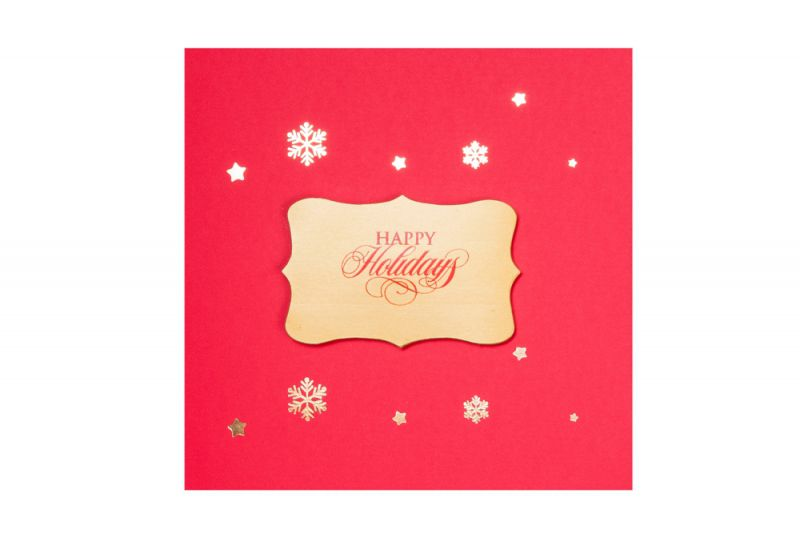 Felicitare Craciun eleganta rosu cu stelute aurii - poza 1