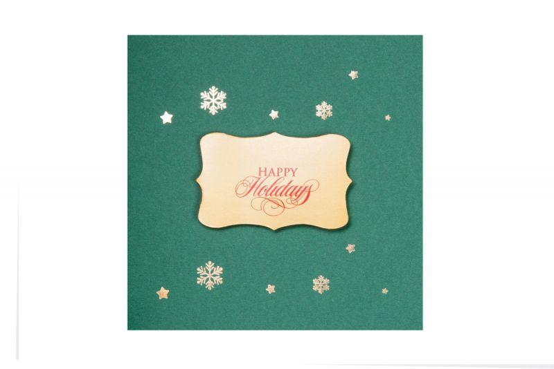Felicitare Craciun eleganta verde cu auriu - poza 2