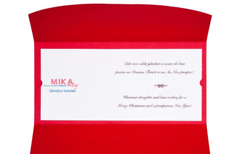 Felicitare Craciun model pocket rosu - poza 3