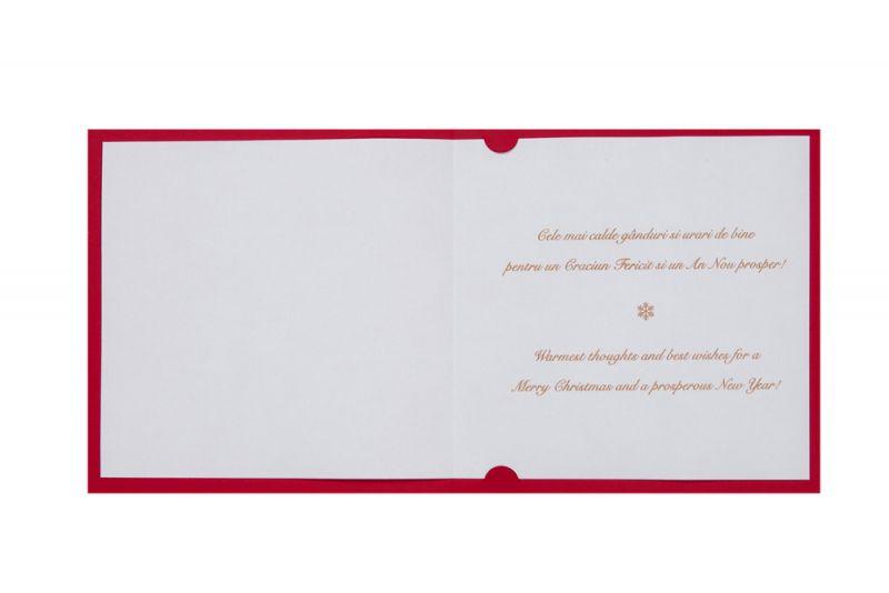Felicitare Craciun rosie cu bradut elegant auriu - poza 3