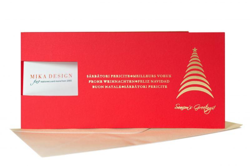 Felicitare Craciun rosie cu bradut auriu stilizat - poza 2