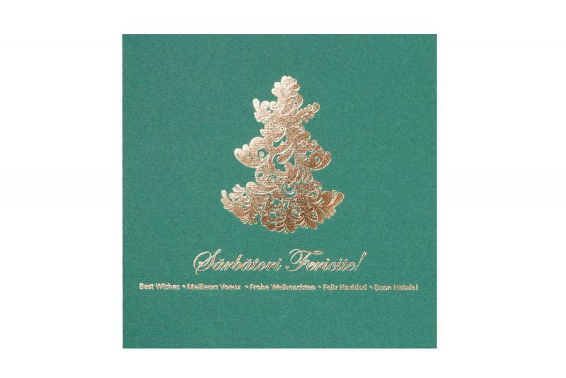 Felicitare Craciun verde cu bradut elegant auriu - poza 1