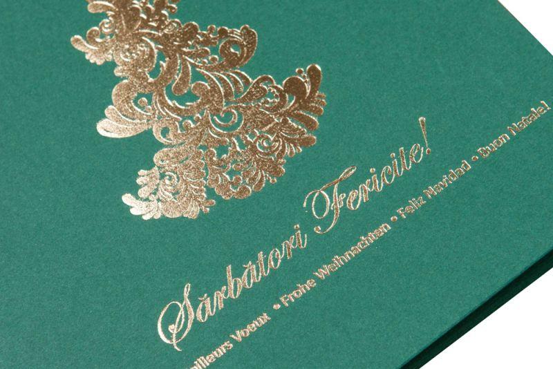 Felicitare Craciun verde cu bradut elegant auriu - poza 2