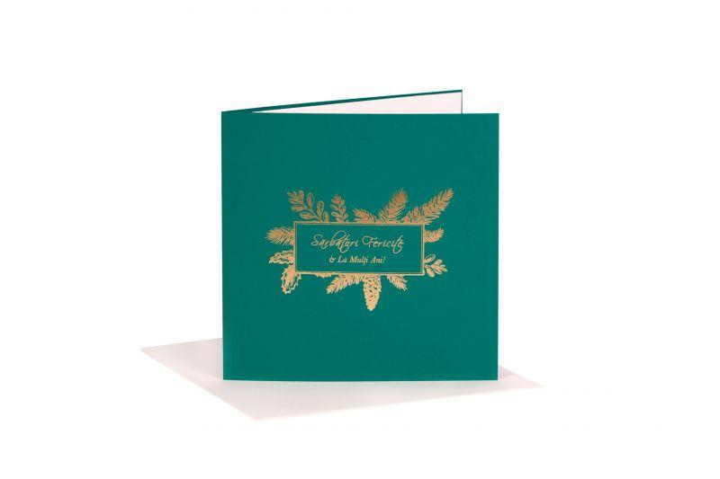 Felicitare Craciun verde cu design specific - poza 1
