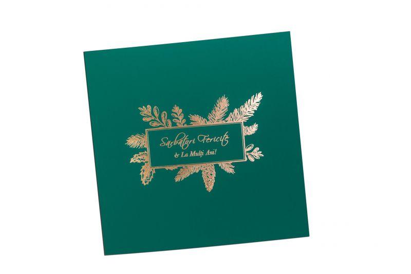 Felicitare Craciun verde cu design specific - poza 2