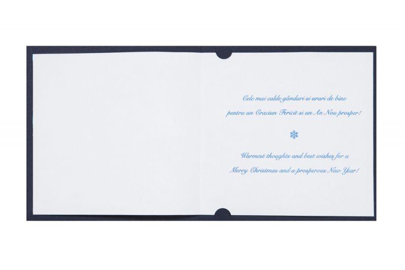 Felicitare Craciun  albastra cu argintiu - poza 3