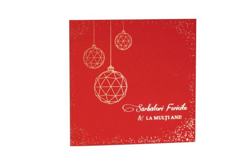 Felicitare de Craciun rosie cu globuri geometrice aurii - poza 2