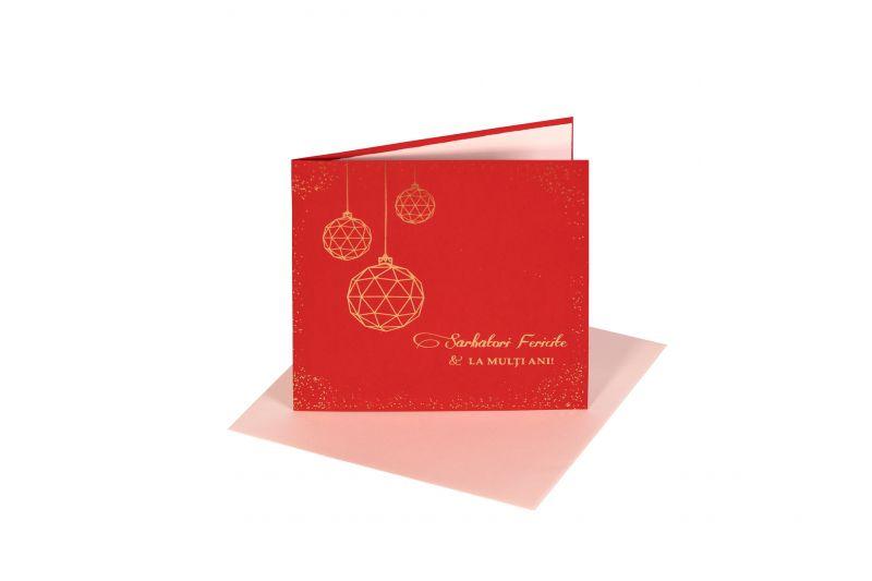 Felicitare de Craciun rosie cu globuri geometrice aurii