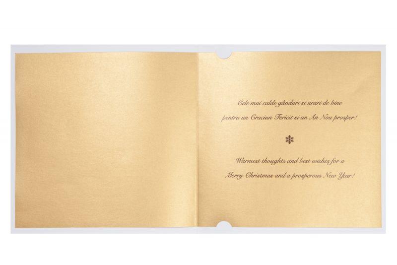 Felicitare Craciun cu bradut auriu decupat - poza 2