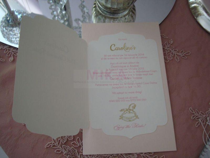 Invitatie botez Carusel Ride fetita - poza 5