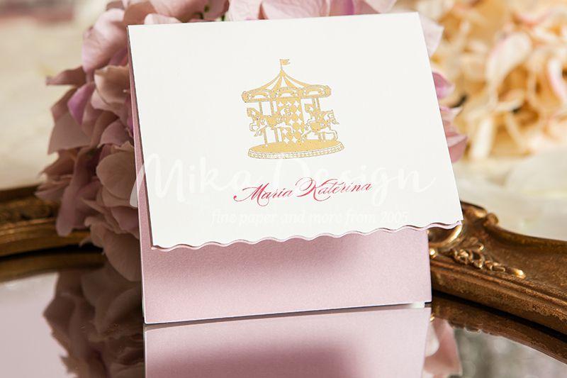 Invitatie botez carton roz pudrat