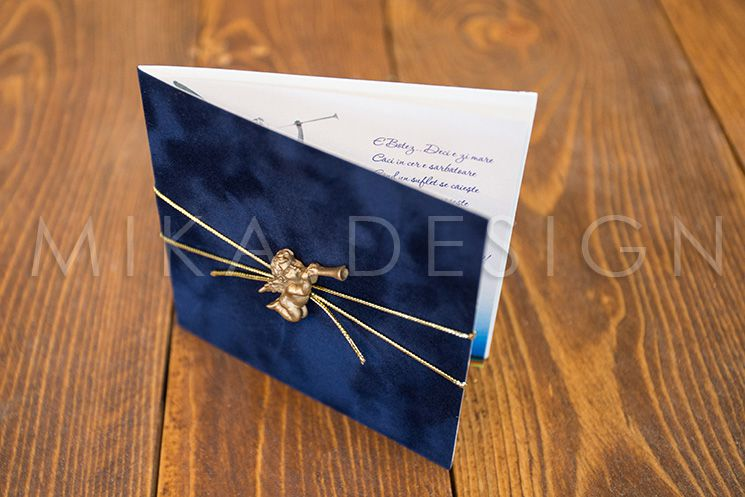 Invitatie botez catifea cu ingeras auriu - poza 2