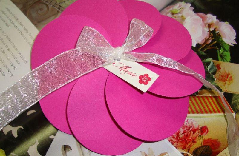 Invitatie botez fetita, culoare fuchsia - poza 3