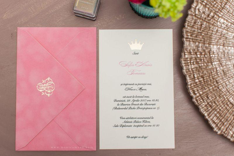 Invitatie botez princess plic catifea roz - poza 2
