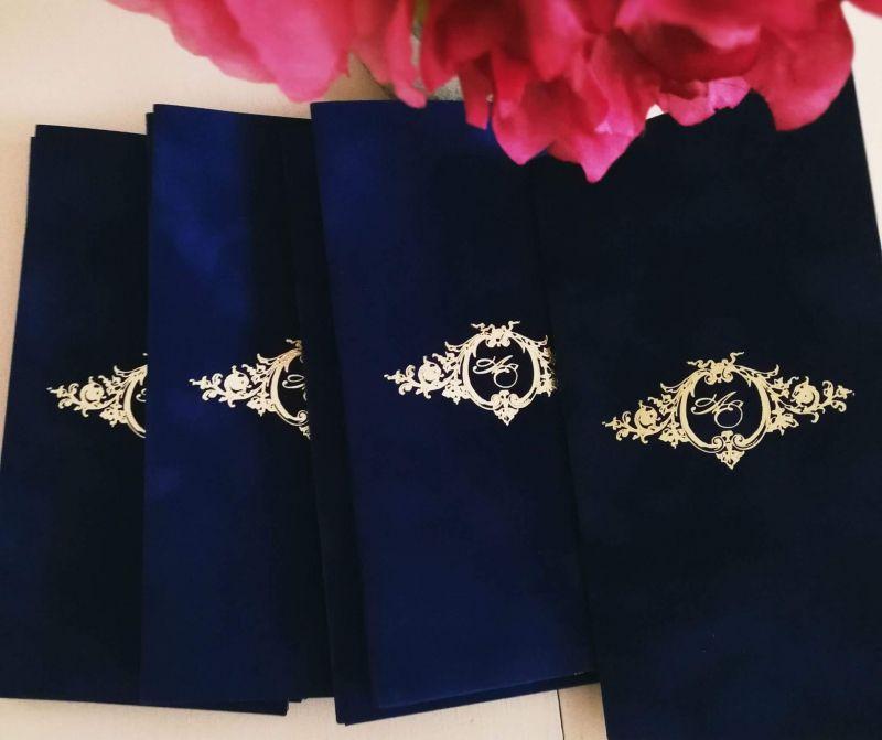 Invitatie catifea albastru royal