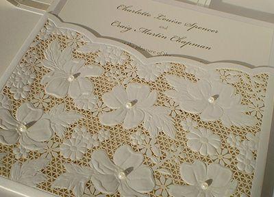 Invitatie de nunta laser cut din dantela - poza 4