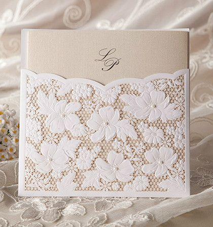 Invitatie de nunta laser cut din dantela - poza 2