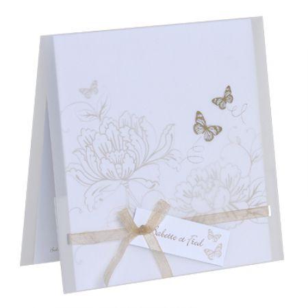 Invitatii nunta cu tematica vintage si fluturi aurii - poza 2