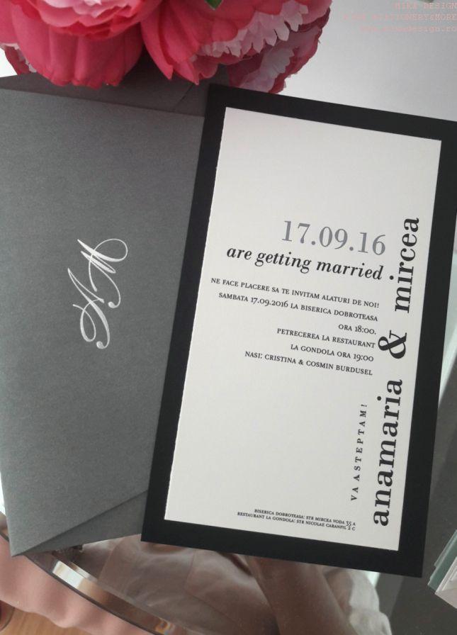 Invitatie nunta alb-negru