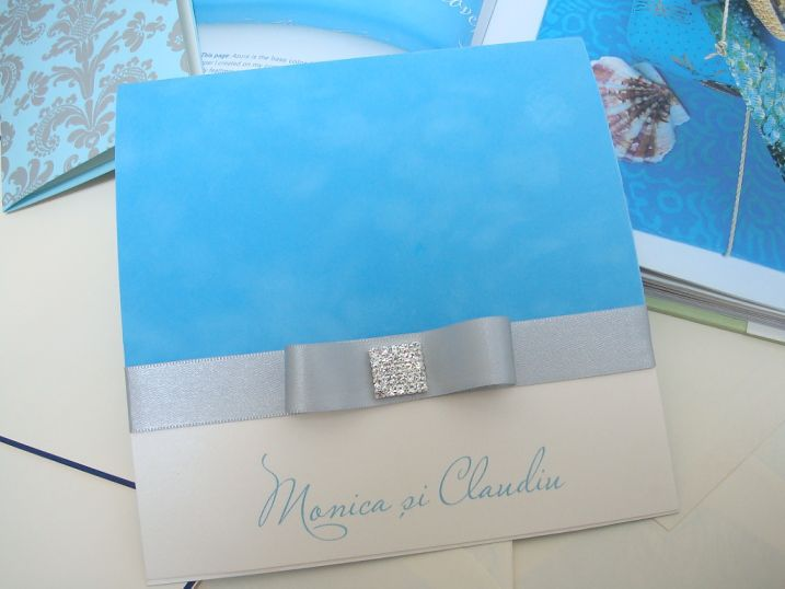 Invitatie nunta catifea bleu BORA-BORA - poza 1