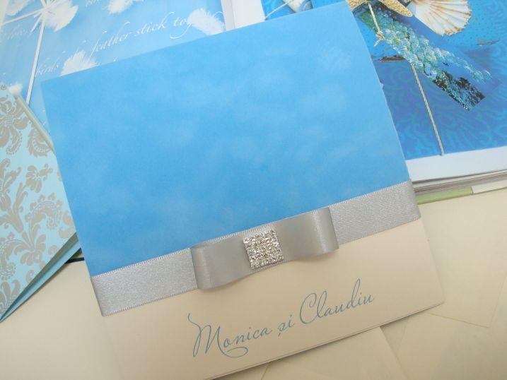 Invitatie nunta catifea bleu BORA-BORA - poza 3