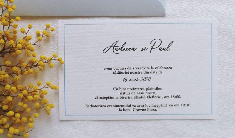 Invitatie nunta bleu ciel sidefat - poza 2