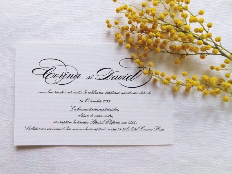 Invitatie nunta bleu ciel sidefat - poza 3