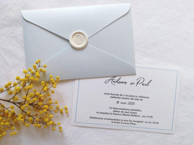 Invitatie nunta bleu ciel sidefat - poza 1
