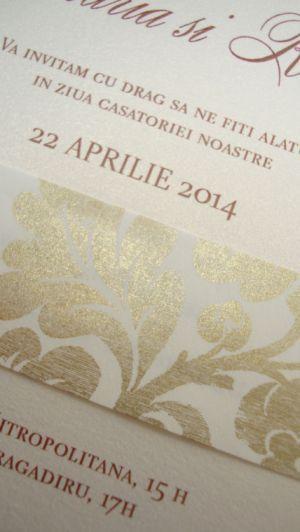 Invitatie nunta brocard auriu si ivoire - poza 4