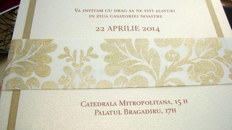Invitatie nunta brocard auriu si ivoire - poza 5