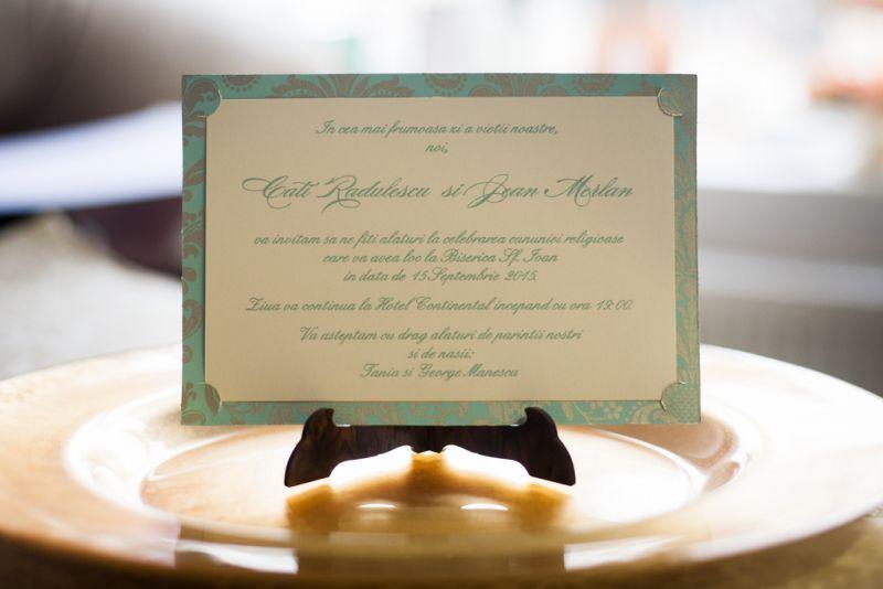 Invitatie nunta carte postala turcoaz