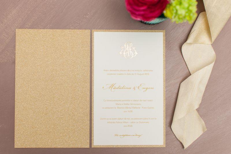 Invitatie nunta carton glitter auriu - poza 1