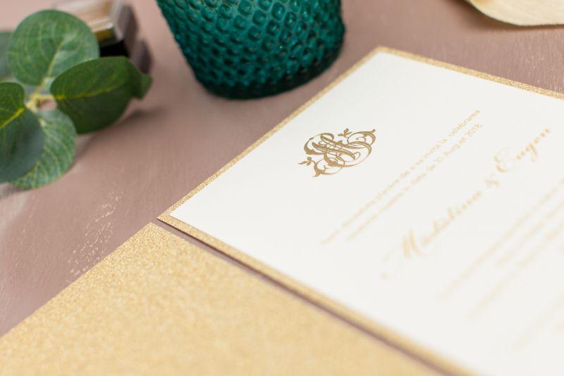 Invitatie nunta carton glitter auriu - poza 2
