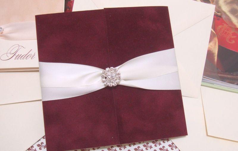 Invitatie nunta din catifea bordeaux, visiniu - poza 6