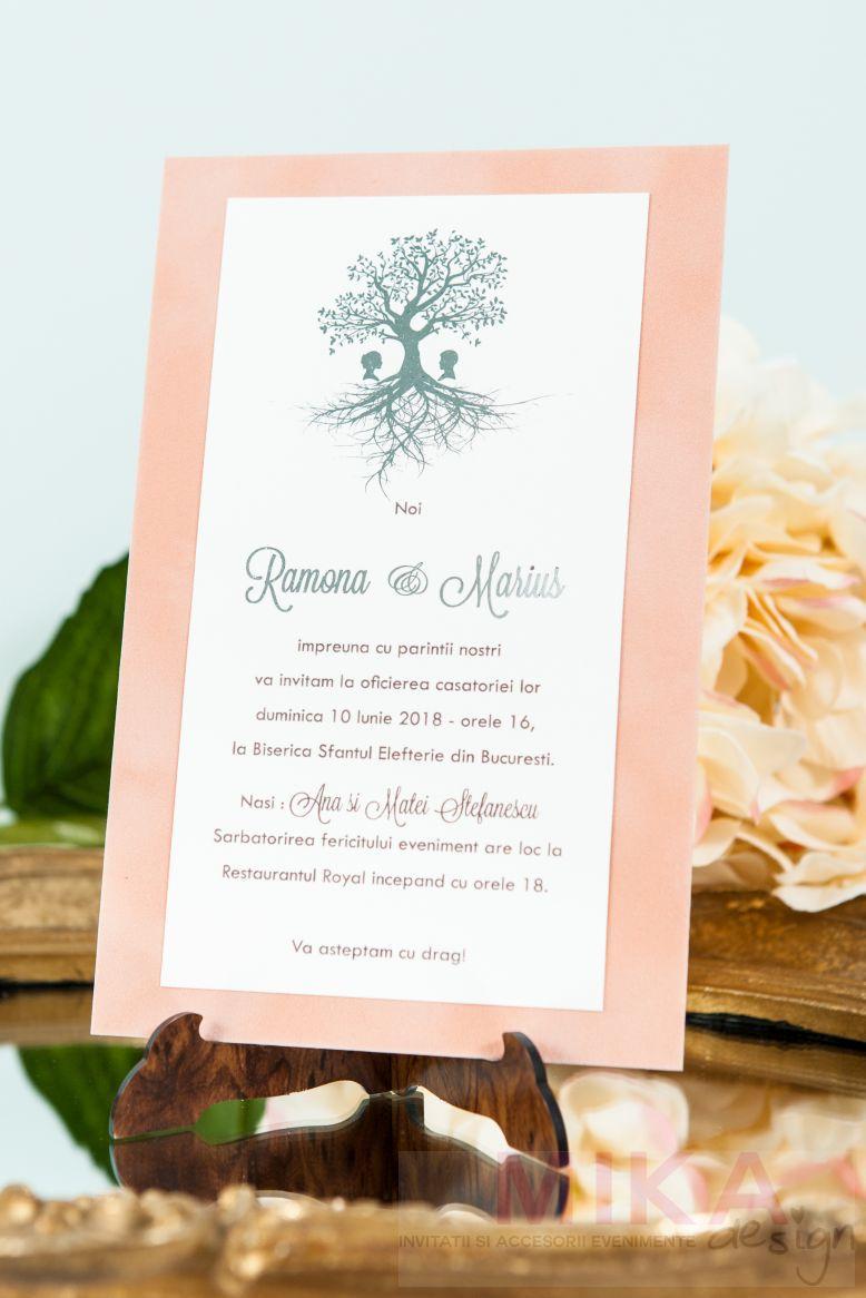 Invitatie nunta catifea cu pomisor auriu sau argintiu - poza 4