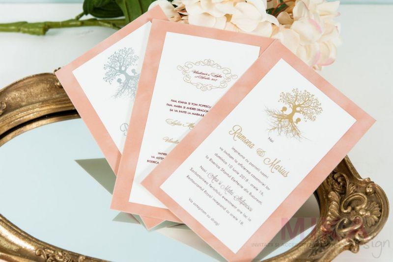 Invitatie nunta catifea cu pomisor auriu sau argintiu - poza 1