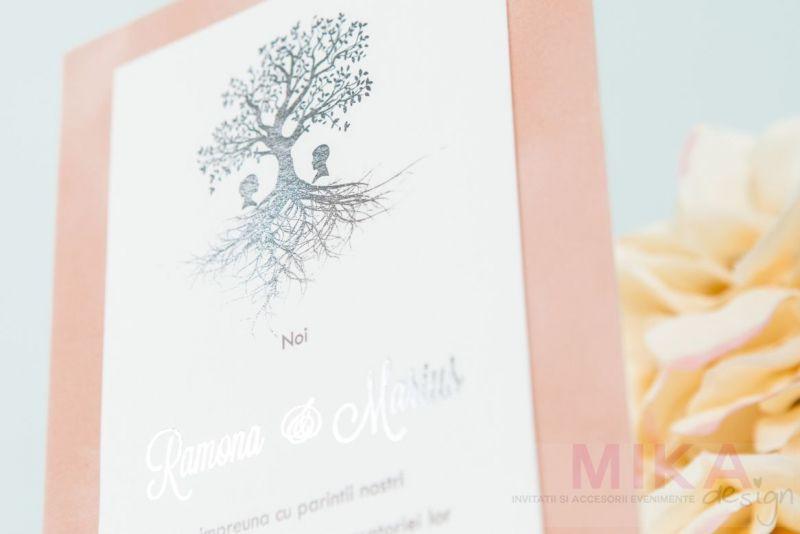 Invitatie nunta catifea cu pomisor auriu sau argintiu - poza 3