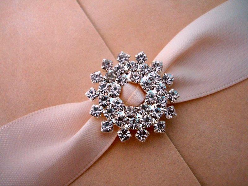 Invitatie de nunta din catifea si accesorii cristale - poza 4