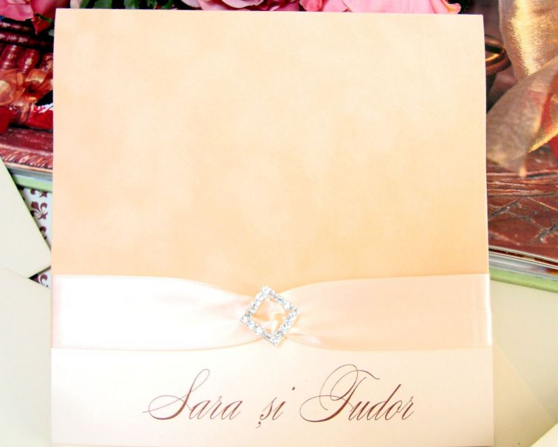 Invitatie nunta catifea bej si funda satin ivory - poza 3
