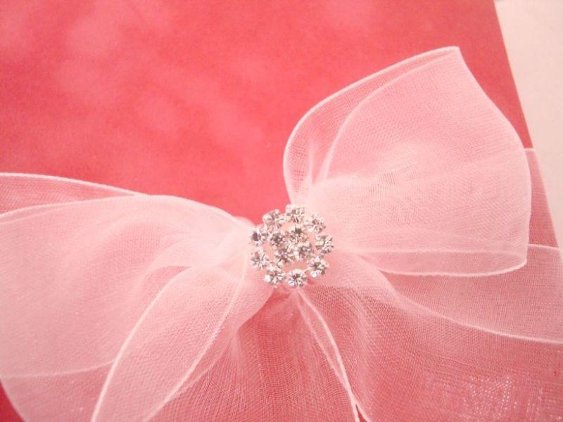 Invitatii nunta din catifea frez si funda organza si accesoriu din cristale - poza 6