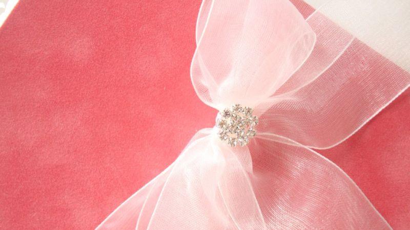 Invitatii nunta din catifea frez si funda organza si accesoriu din cristale - poza 2