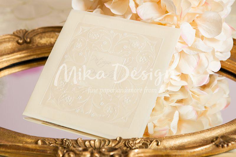 Invitatie nunta crem cu design relief perlat - poza 1