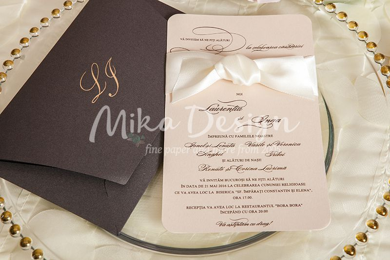 Invitatie nunta crem rose si maro - poza 1