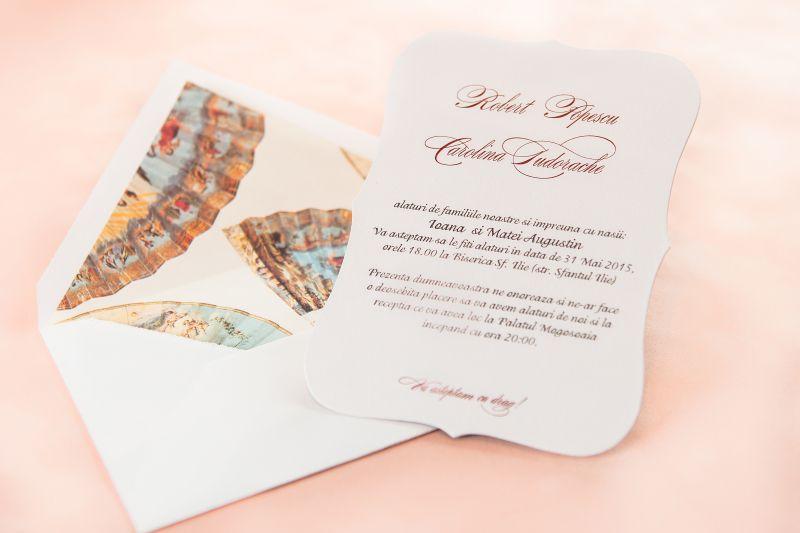 Invitatie nunta cu design evantaie