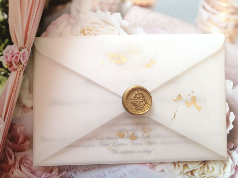 Invitatie nunta cu foita aur - poza 1