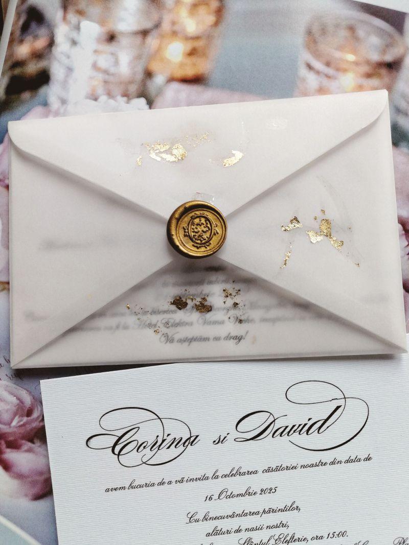Invitatie nunta cu foita aur - poza 2