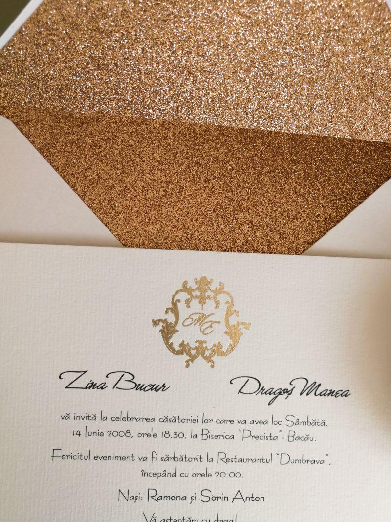 Invitatie nunta cu plic  glitter copper - poza 3