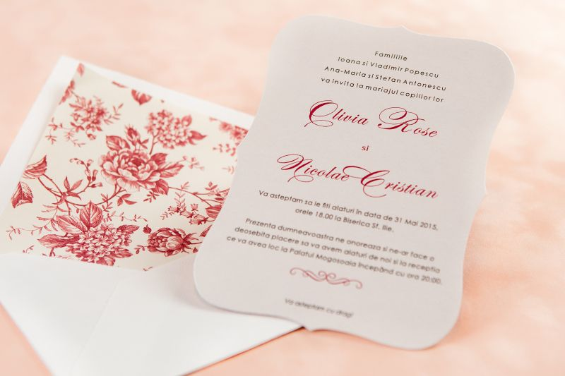 Invitatie nunta design floral vintage - poza 1